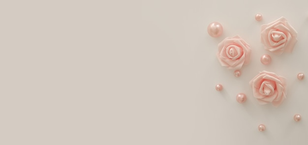 Розовые цветы и жемчуг на белом фоне, со свободным пространством для текста, копией пространства. белые розы. минималистичный дизайн. фон на день рождения, женский день, юбилей, свадьбу. вид сверху, плоская планировка.
