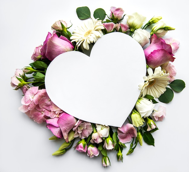 Pink flowers and heart