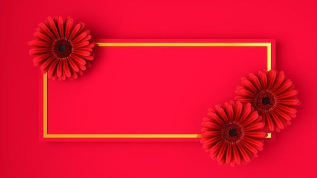Розовые цветы в золотой рамке на красном, 3d иллюстрации