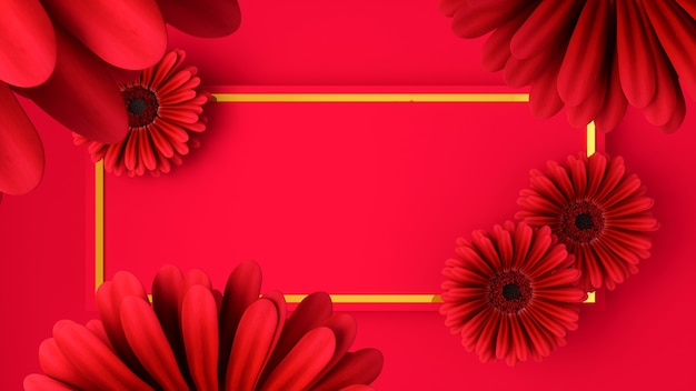 Pink flowers on a pink background, 3d illustration