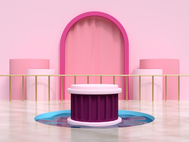 Pink frame curtain geometric scene water pond podium set 3d rendering
