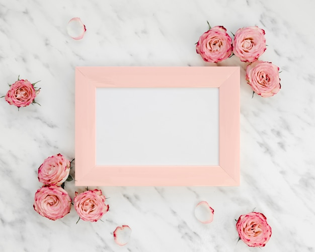 Pink frame surrounded by roses