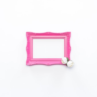 Pink frame white flower vintage background