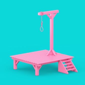 青い背景にデュオトーンスタイルの吊り縄ロープ結ばれた結び目とピンクの絞首台。 3dレンダリング