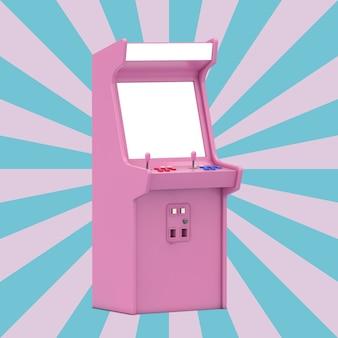 Розовый игровой аркадный автомат с пустым экраном для вашего дизайна на розово-синем фоне в форме винтажной звезды. 3d рендеринг