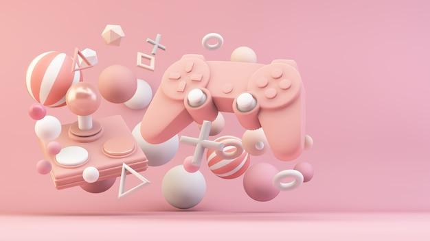 3dレンダリングのピンクのゲームコントローラー