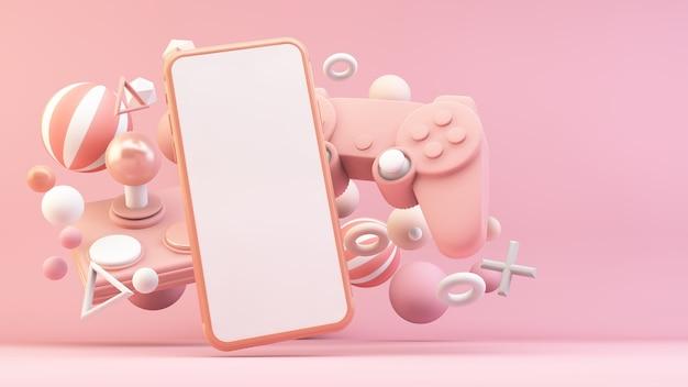 3dレンダリングのピンクのゲーム用携帯電話