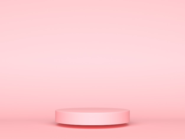 Pink geometric 3d product display background concept, abstract podium cylinder, circle stand for creative advertising commercials. 3d rendering