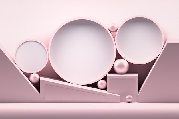 Розовая геометрическая композиция с глянцевыми шарами