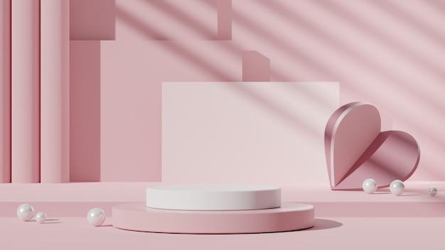 表彰台とハートの装飾が施されたピンクの幾何学的形状の背景