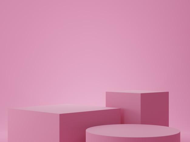製品の表示のための表彰台とピンクの幾何学的形状の背景