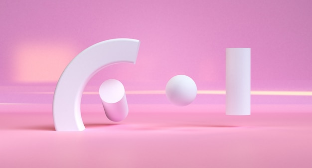 Pink geometric shape minimalist abstract background, 3d render.