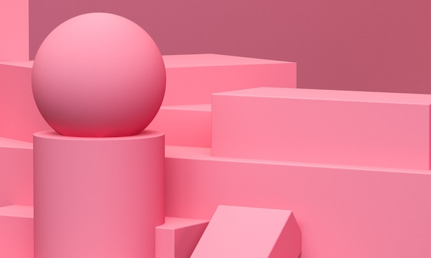 Pink geometric shape  primitive geometrical. minimalist abstract background, 3d render.