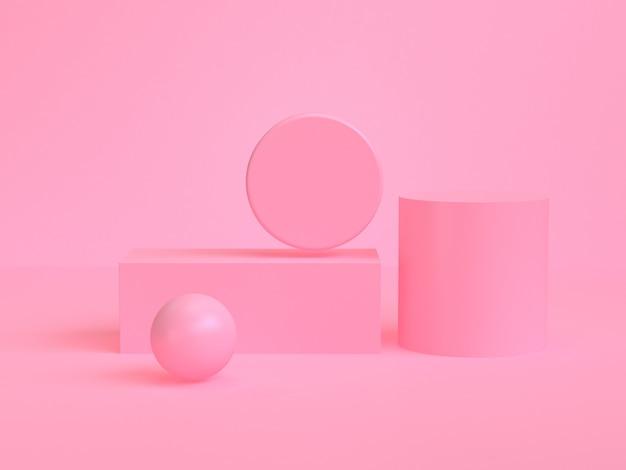 Pink geometric shape scene minimal style 3d rendering.