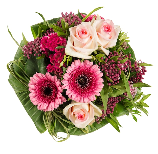Розовые герберы и цветы розы изолированные