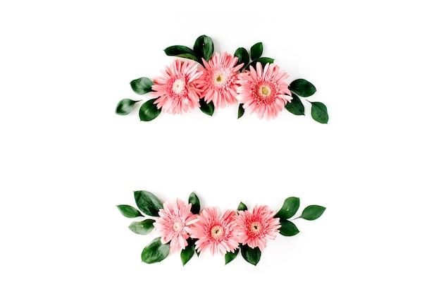 白地にピンクのガーベラデイジー
