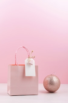 Pink gift bag with empty tag
