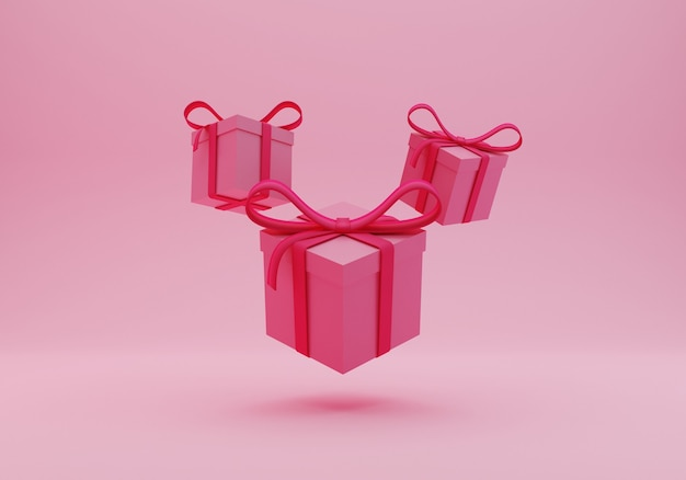 Pink gift box 3d rendering
