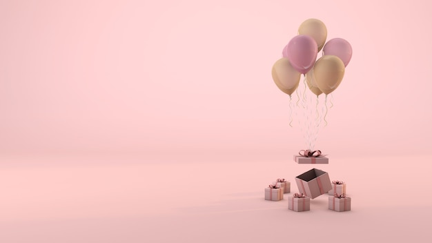 Pink gift box and balloon floating minimal pink background. 3d render