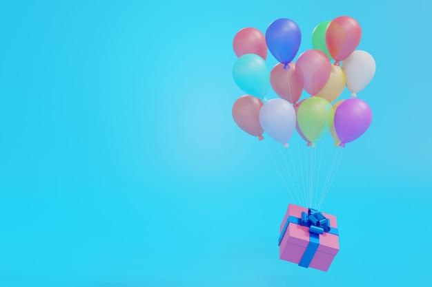 青いパステル背景、3dレンダリングの風船で浮かぶピンクのギフトボックス。