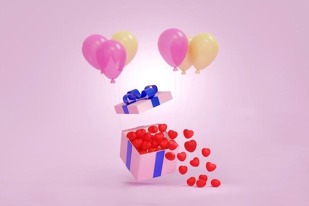Розовая подарочная коробка или подарочная коробка с множеством мини-красных сердечек, плавающих на воздушных шарах. 3d-рендеринг.