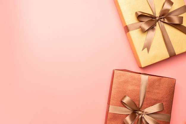 Pink gift box on pink