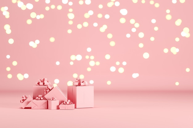 Pink gift box set on pink color background with lighting bokeh backdrop. 3d render. minimal christmas new year concept. selective focus.