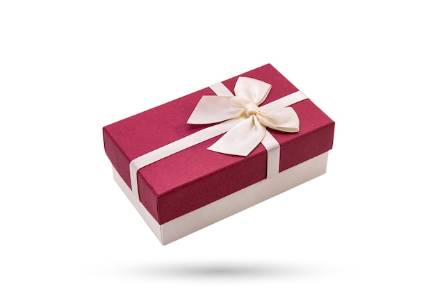 Pink gift box on white isolated