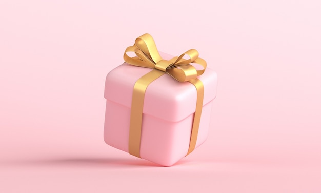 パステルピンクの背景に浮かぶ金色のリボンの弓とピンクのギフトボックス。クリエイティブでリアルなミニマルギフト。 3dレンダリング
