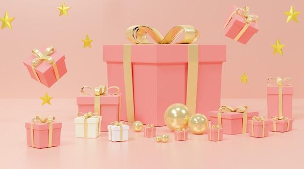 ピンクのギフトボックスと星
