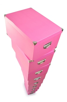 Pink gift boxes isolated