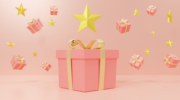 Pink gift boxes and stars