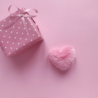 Pink gift with bow for valentines day and birthday