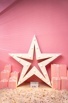 Pink gifts on pink background