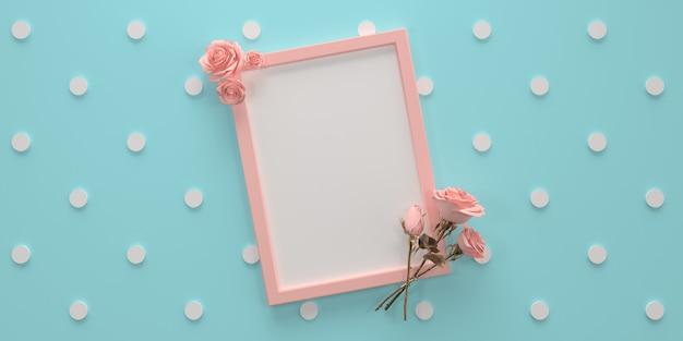 Розовая девчачья рамка для текста с розами на синем фоне в горошек