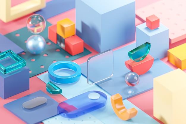ピンクのガラスの幾何学は抽象的な構成アート3dレンダリングを形作ります
