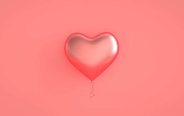 Розовые глянцевые блестящие шары в форме сердца на пастельно-розовом фоне