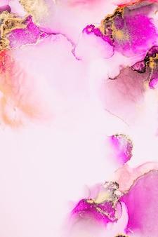 Розовое золото абстрактный фон мраморной жидкой туши художественной росписи на бумаге.