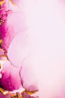 종이에 대리석 액체 잉크 아트 페인팅의 핑크 골드 추상적인 배경.