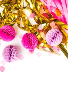 Pink and gold abstract festive decoration background with copy space. flat lay.