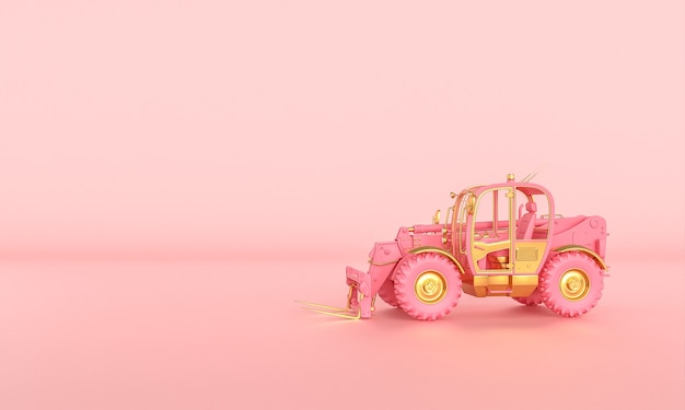 Pink and gold bulldozer on a pink background. 3d render