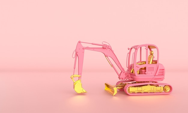 Pink and gold excavator on a pink background. 3d render.
