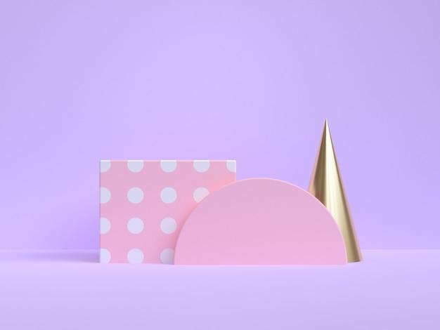 핑크 골드 기하학적 추상 최소한의 보라색 보라색 3d 렌더링