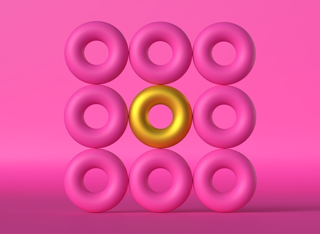 Pink and gold hoops with gradient background geometric figures in the shape of pink donut