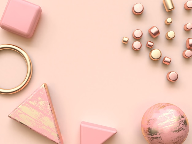 Pink gold metallic abstract shape flat lay decoration 3d rendering
