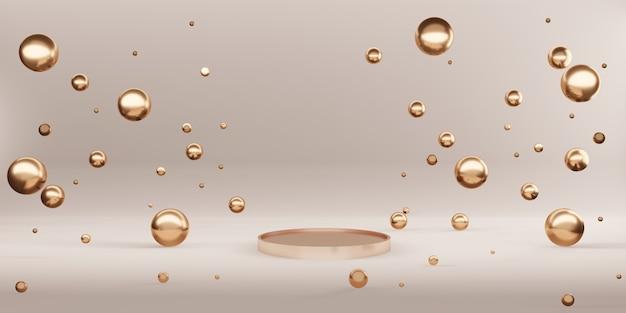 ピンクゴールド製品のディスプレイスタンドとスパークリングゴールドビーズプレミアムラグジュアリー背景3dイラスト