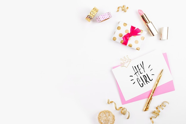 Pink and gold styled desk with florals