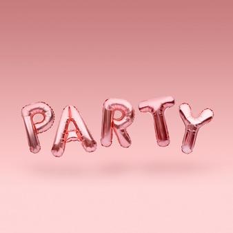 ピンクの黄金単語パーティーはピンクの背景に浮かぶ膨脹可能な風船で作られました。ローズゴールドホイルバルーン文字。お祝いのコンセプトです。