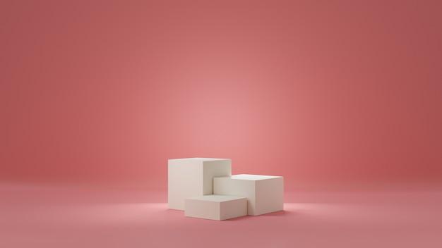 Студия с розовым градиентом и пьедесталами белого цвета или цвета шампанского для демонстрации продуктов. пустой подиум для рекламы. 3d-рендеринг.
