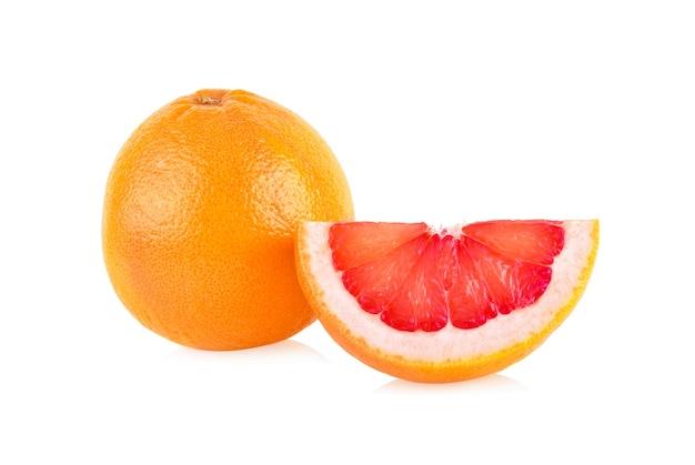 Pink grapefruit citrus fruit isolated on white background